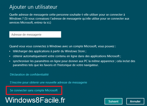 Windows 8 création utilisateur local