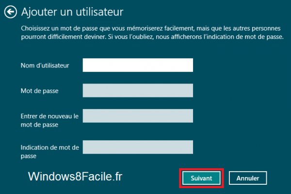 Windows 8 création du compte local