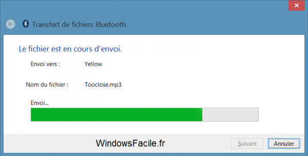 Windows 8 bluetooth transfert progression