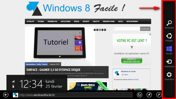 windows 8 menu barre charme