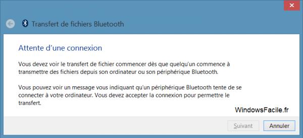 Windows 8 recevoir fichiers bluetooth attente