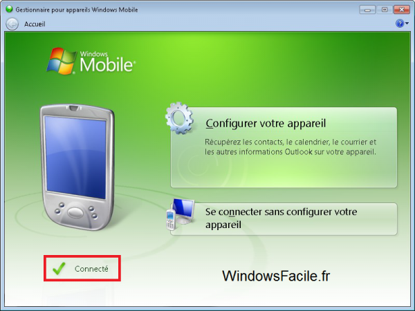 Windows Mobile connecté