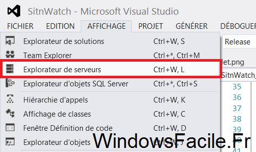Visual Studio 2012 explorateur serveurs