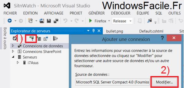 Visual Studio 2012 explorateur serveurs connecteur