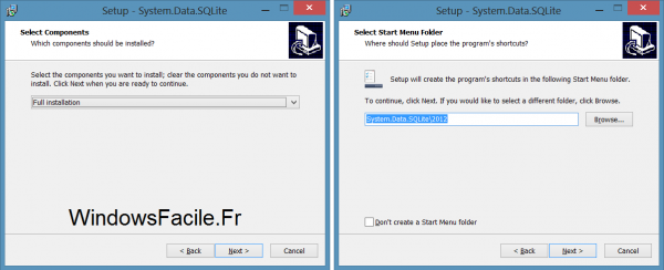 SQLite VS2012 installation suite