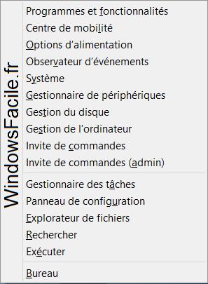 Windows 8 Menu Windows+X