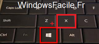 Windows 8 Windows+X Combinaison