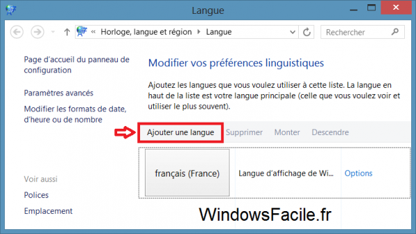 Windows ajouter langue