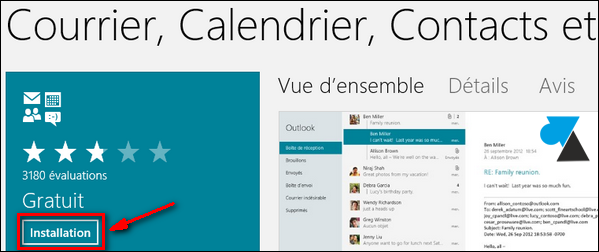 Courrier Contact Windows Store