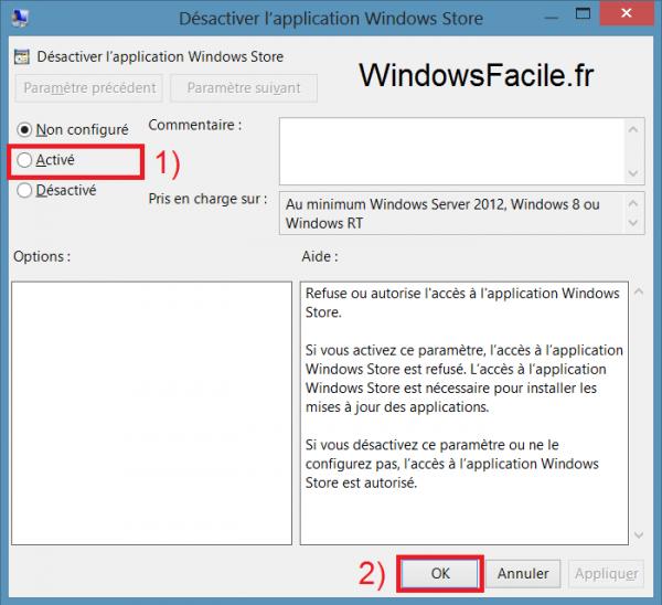 Windows Store désactivation