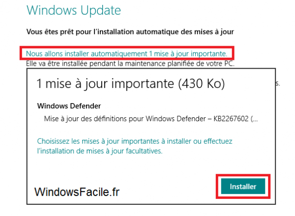 Windows 8 installer mises à jour