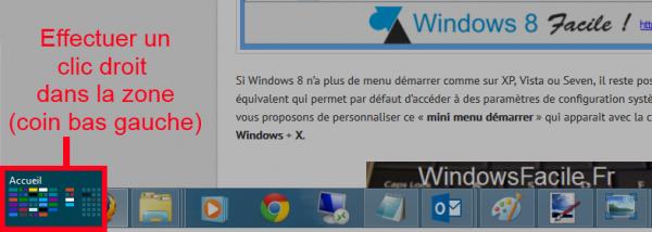 Afficher menu windows+x souris