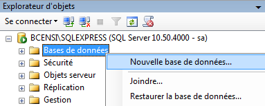 SQL Server 2008 R2 creer nouvelle base de donnees