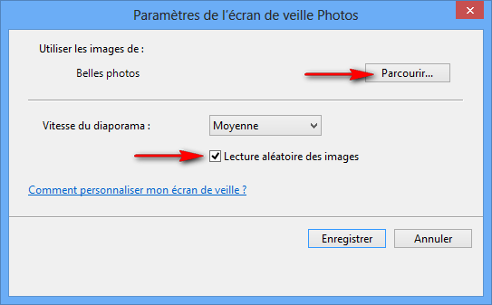 configurer options ecran de veille Windows 8