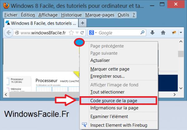Firefox afficher code source