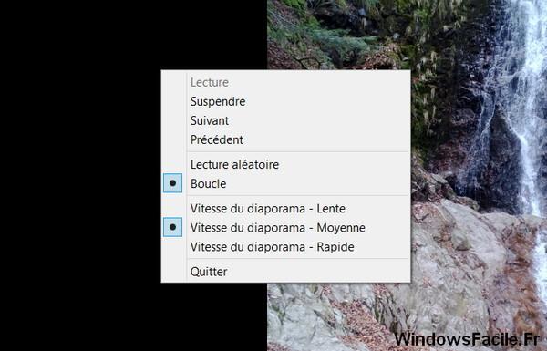 diaporama menu contextuel
