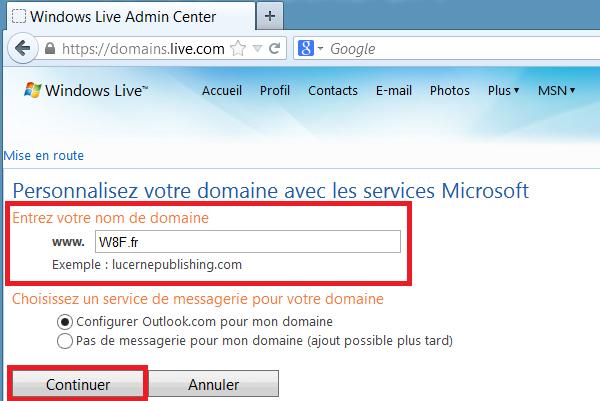 Choix domain mail