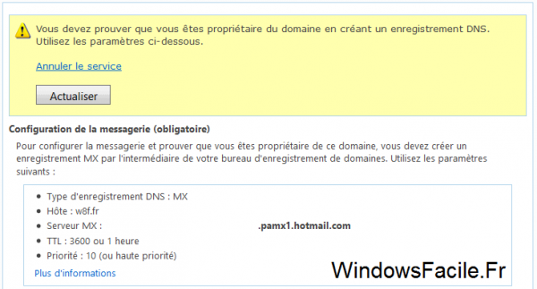 Domaine mail avec outlook