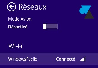connexion reseau sans fil wifi Windows 8