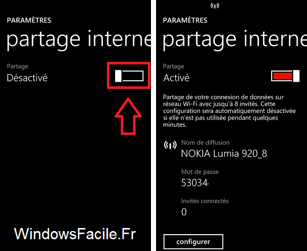 Windows Phone partage internet activé