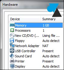 VMware Player Workstation customize hardware RAM network HDD