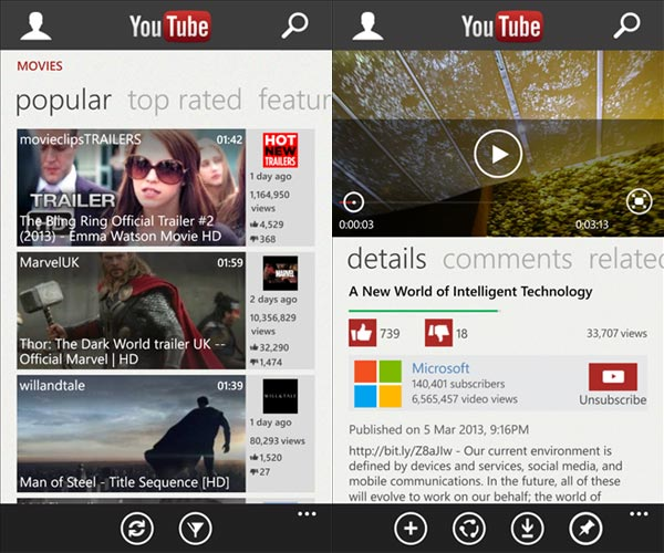 application YouTube Windows Phone 8