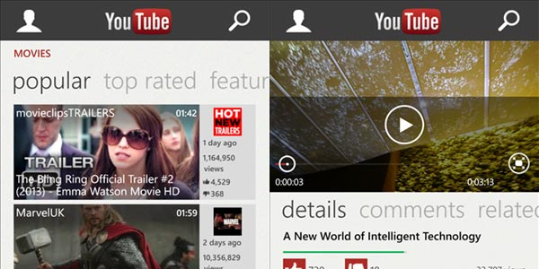 YouTube arrive sur Windows Phone