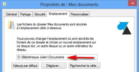 changer emplacement documents autre disque partition