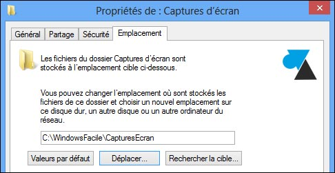 changer dossier endroit capture ecran windows screenshot