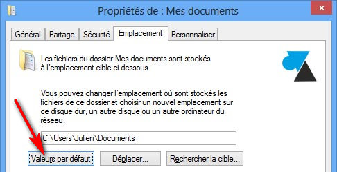 configurer emplacement documents bibliotheque