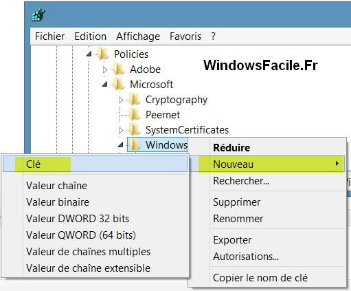 Créer clé windowsupdate