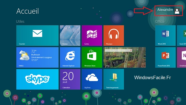 Ecran accueil Windows 8