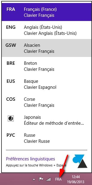 changer langue clavier Windows bureau