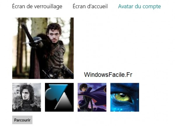 selection avatar windows 8