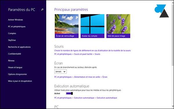 Windows 8.1 panneau de configuration