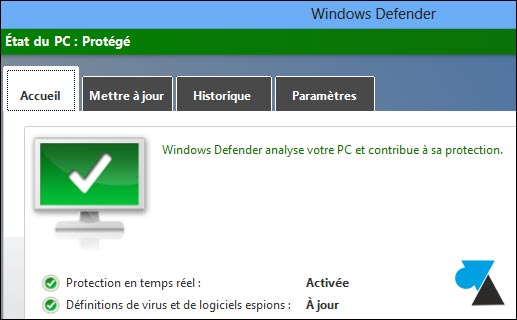 Windows Defender ok vert MAJ
