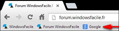 navigateur internet Google Chrome barre favori