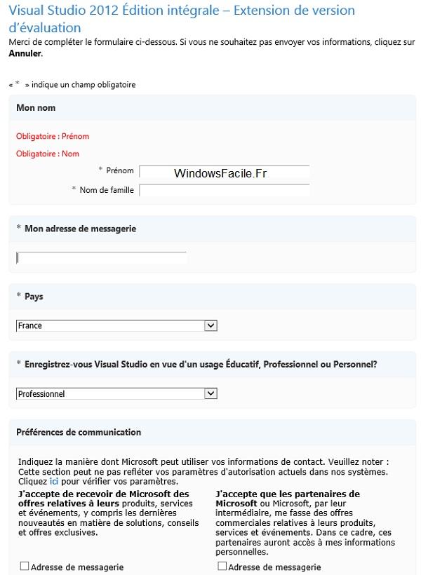 VS2012 formulaire etendre