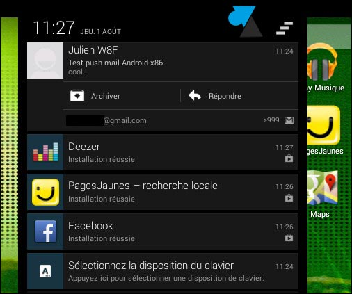 Android notification center telechargement applications