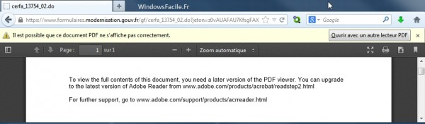 pdf impossible ouvrir formulaire