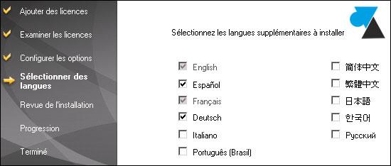 Backup Exec installer langue