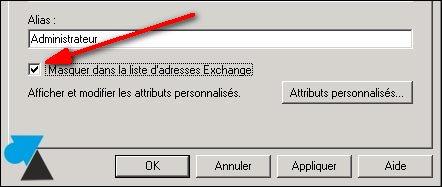 Exchange console configuration boite aux lettres utilisateur