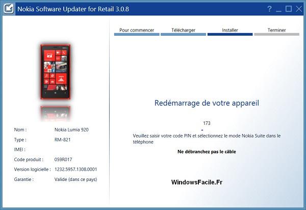 Redémarrage appareil Nokia Windows Phone