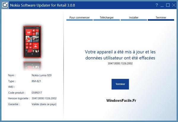 Appareil Nokia mis à jour
