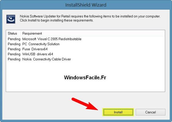 Installer Nokia Software Updater for Retail