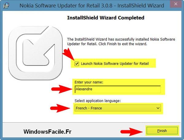 Installation terminée Nokia Software Updater