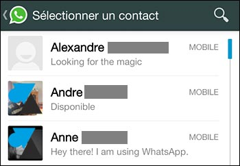 whatsapp contacts mobile