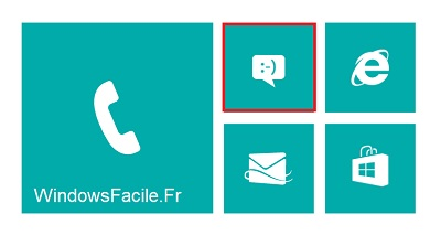 Ecran accueil Windows Phone SMS