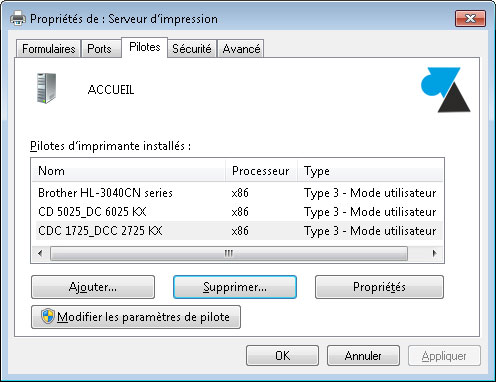 desinstaller pilote driver imprimante Windows