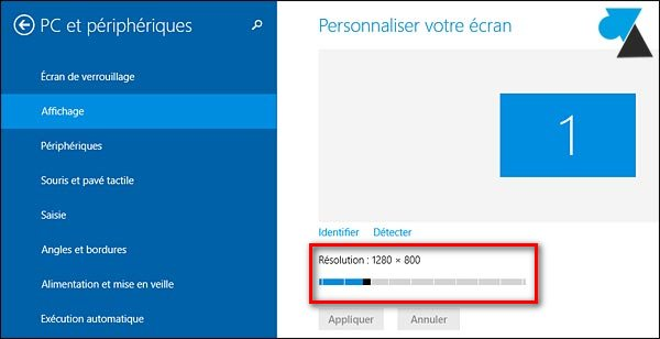 tutoriel changer resolution ecran Windows 8